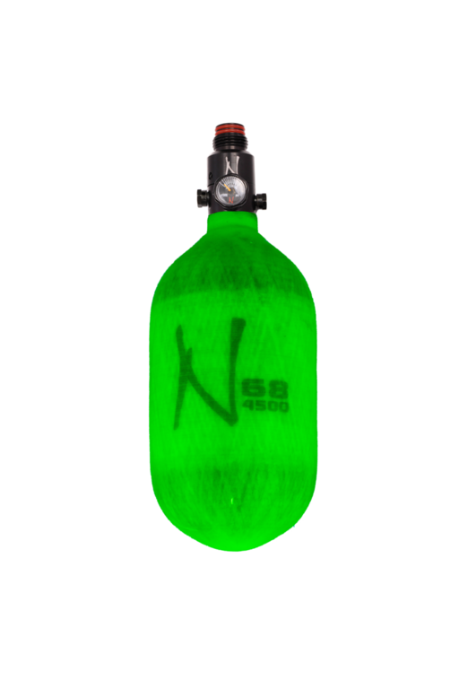 NINJA LITE CARBON FIBER AIR TANK - 68/4500 W/ ADJUSTABLE REGULATOR - Translucent Lime