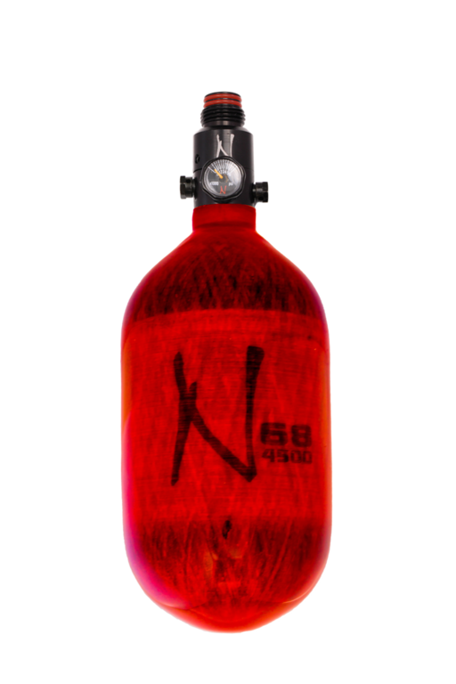 NINJA LITE CARBON FIBER AIR TANK - 68/4500 W/ ADJUSTABLE REGULATOR - Translucent Red