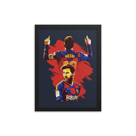 Messi FC Barcelona Art Framed Poster