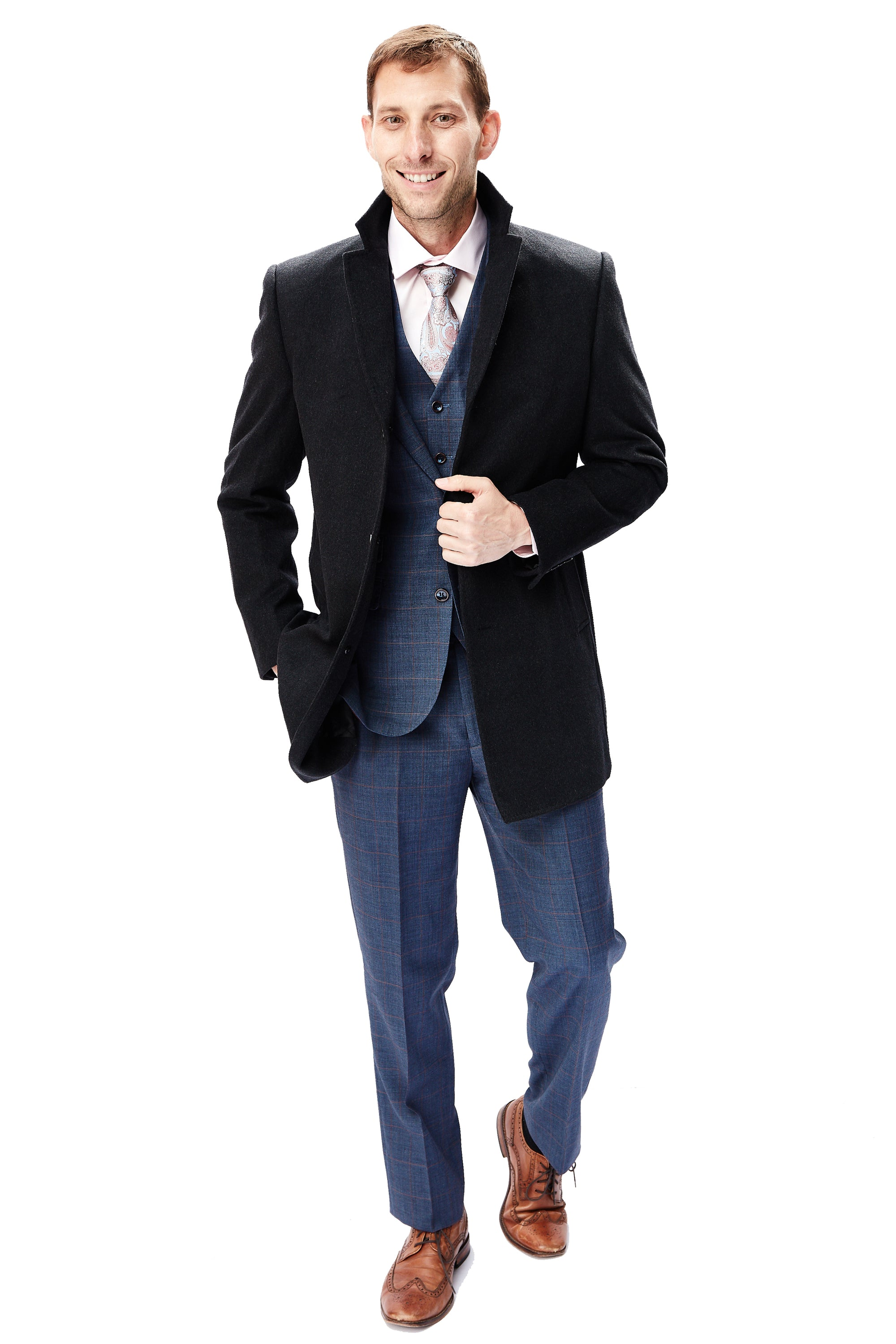 Charcoal Grey Wool & Cashmere Overcoat