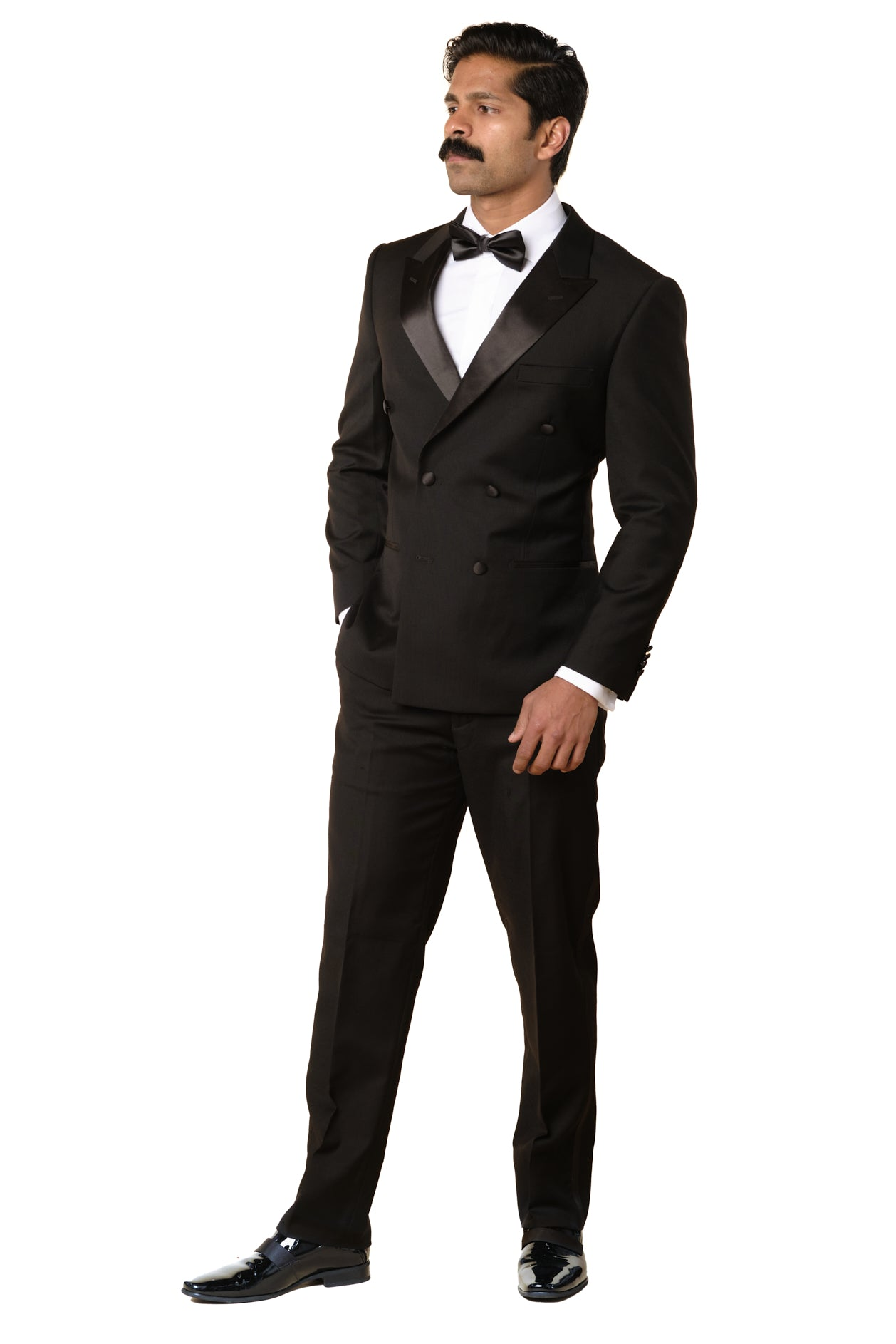 Black Double Breasted Wool Tuxedo