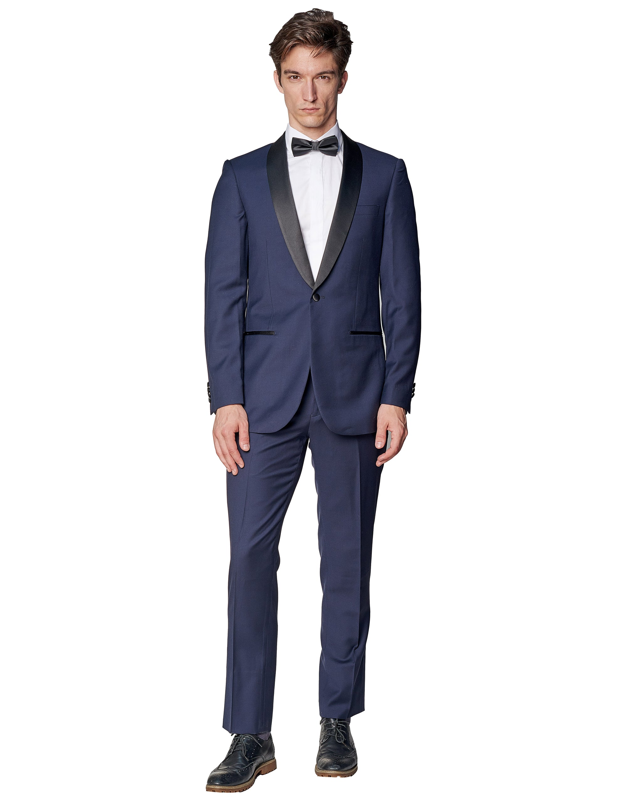 Navy Shawl Lapel Wool Tuxedo-The Suit Spot-Wedding Suits-Wedding Tuxedos-Groomsmen Suits-Groomsmen Tuxedos-Slim Fit Suits-Slim Fit Tuxedos-Online wedding suits