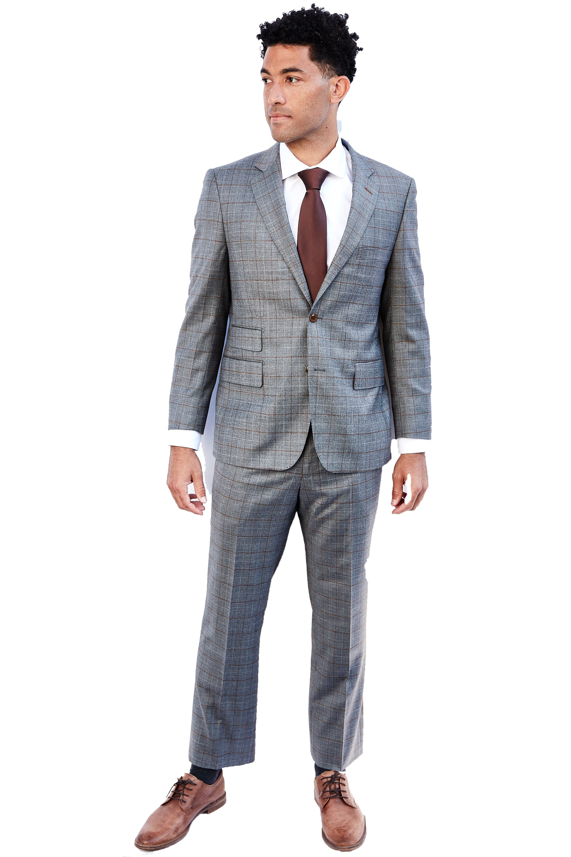 Hand Made Grey Brown Check Suit