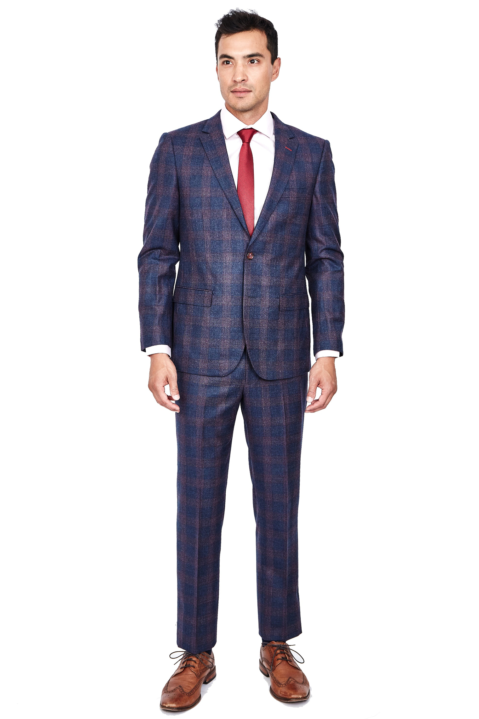 Navy with Red Checks Slim Fit Suit