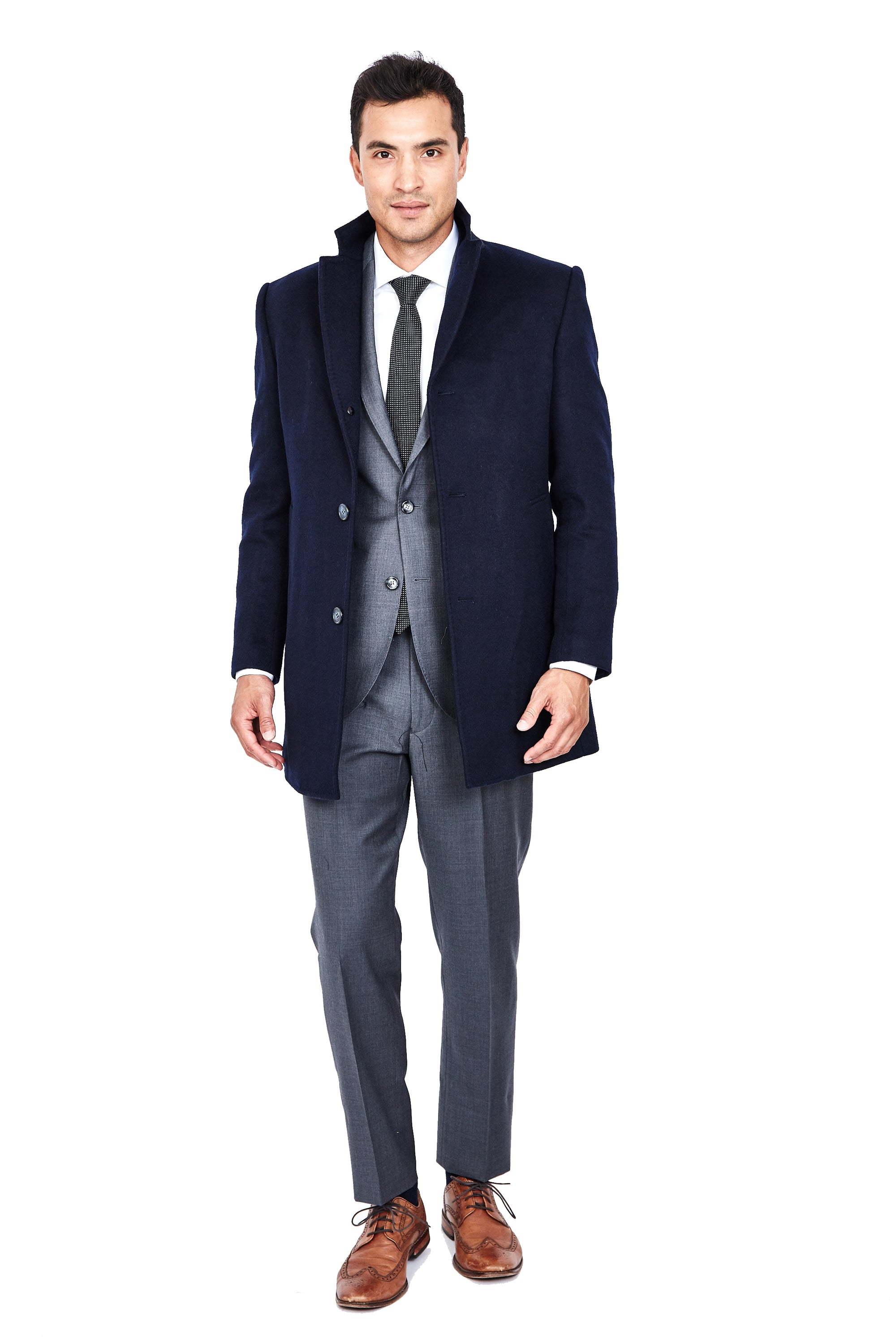 Navy Wool & Cashmere Overcoat