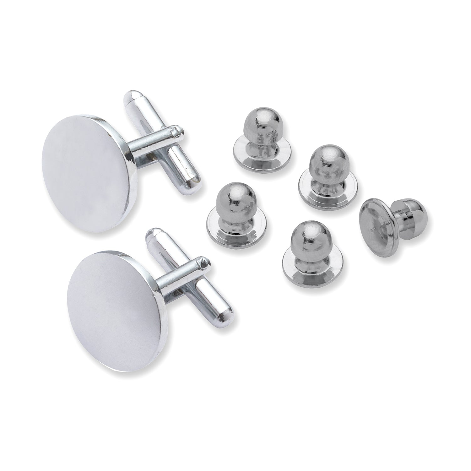 All Silver Cufflink & Stud Set-The Suit Spot-Wedding Suits-Wedding Tuxedos-Groomsmen Suits-Groomsmen Tuxedos-Slim Fit Suits-Slim Fit Tuxedos-Online wedding suits