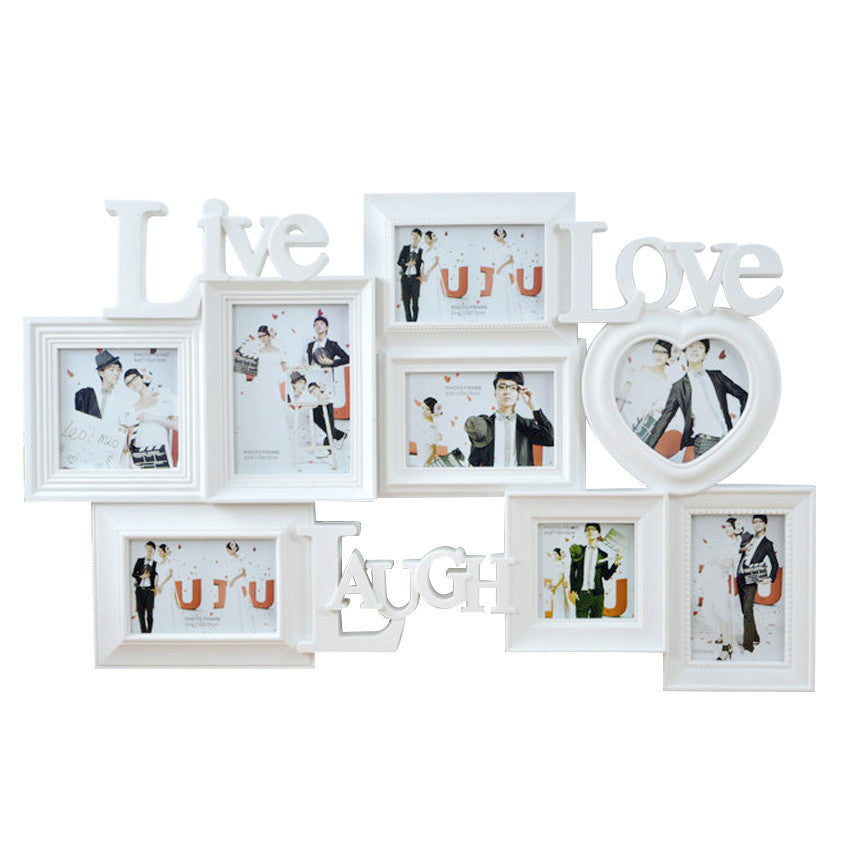 Shoppy 8-in-1 \'Live Love Laugh\' Photo Frame Display (White) | Shoppy