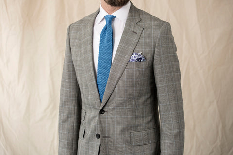 Introducing our Blue Knitted Tie & White Medallion Pocket Square Set
