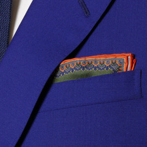 sharp&dapper - Hand Rolled Pocket Square - Fern Chain