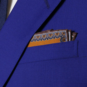 sharp&dapper - Hand Rolled Pocket Square - Light Brown Chain