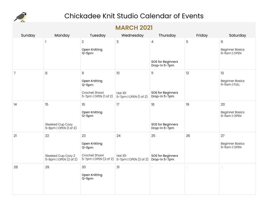 March 2021 Classes and Events at Chickadee Knit Studio
