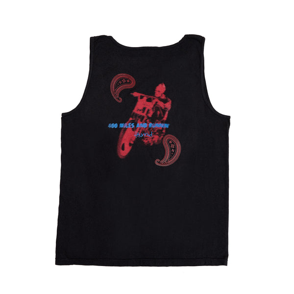 400 MILES AND RUNNIN SLEEVELESS TANK TOP (WASHED BLACK)