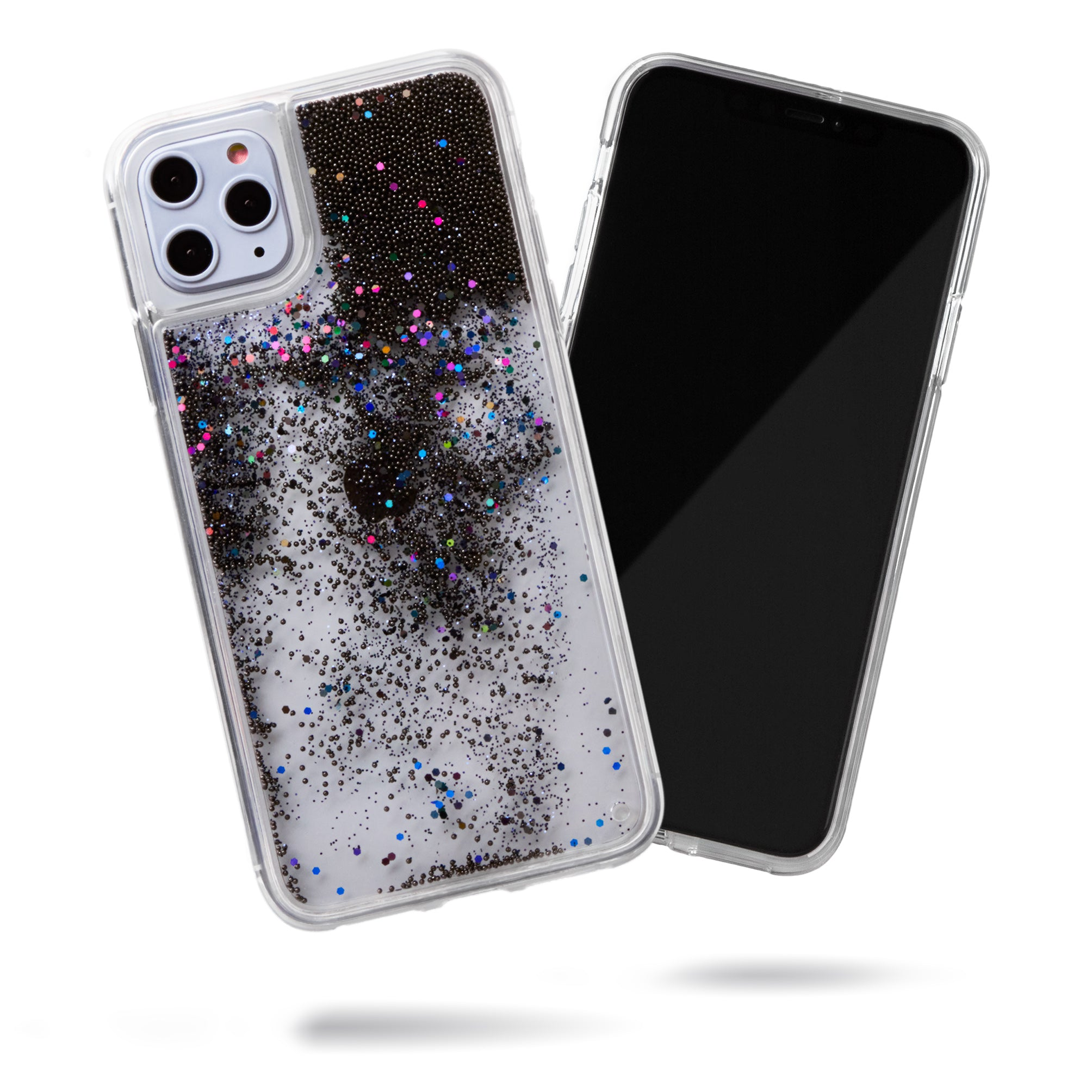 Glitter Liquid Case for iPhone 11 Pro Max - Black Pearls w/ Iridescent Glitter