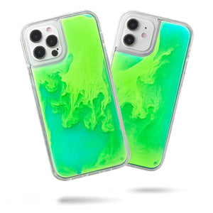 Neon Sand iPhone 12 & 12 Pro Case - Mint and Neon Green Glow