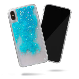 Glitter Liquid Case for iPhone Xs Max - Iridescent Stars in Blue Sand