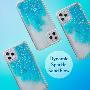 Glitter Liquid Case for iPhone 11 Pro Max - Iridescent Stars in Blue Sand