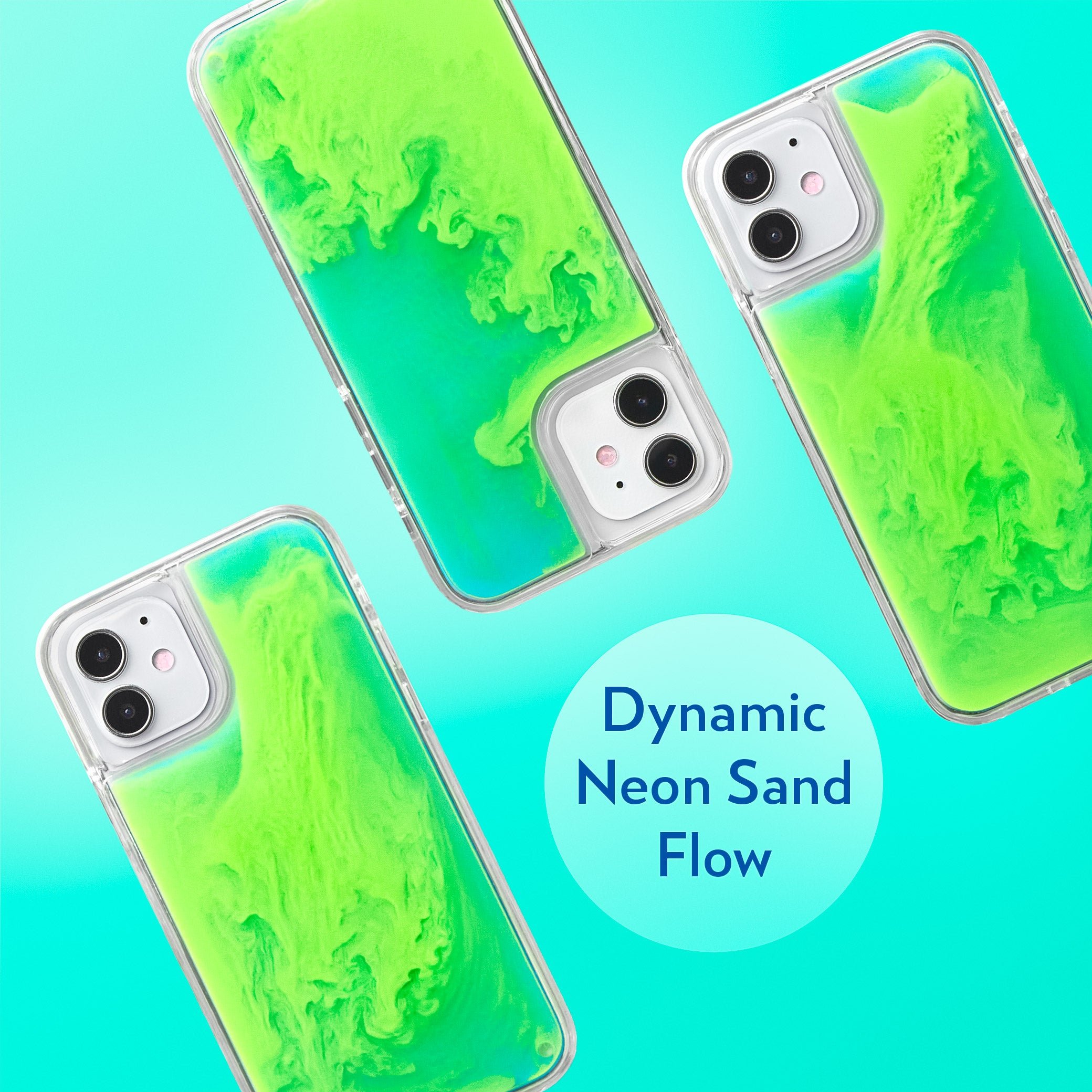Neon Sand iPhone 12 Mini Case - Mint and Neon Green Glow