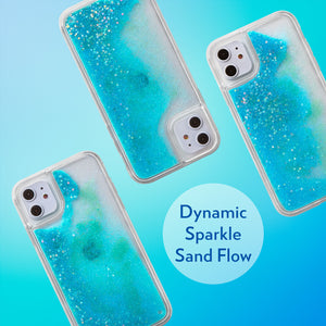 Glitter Liquid Case for iPhone 11 - Iridescent Stars in Blue Sand
