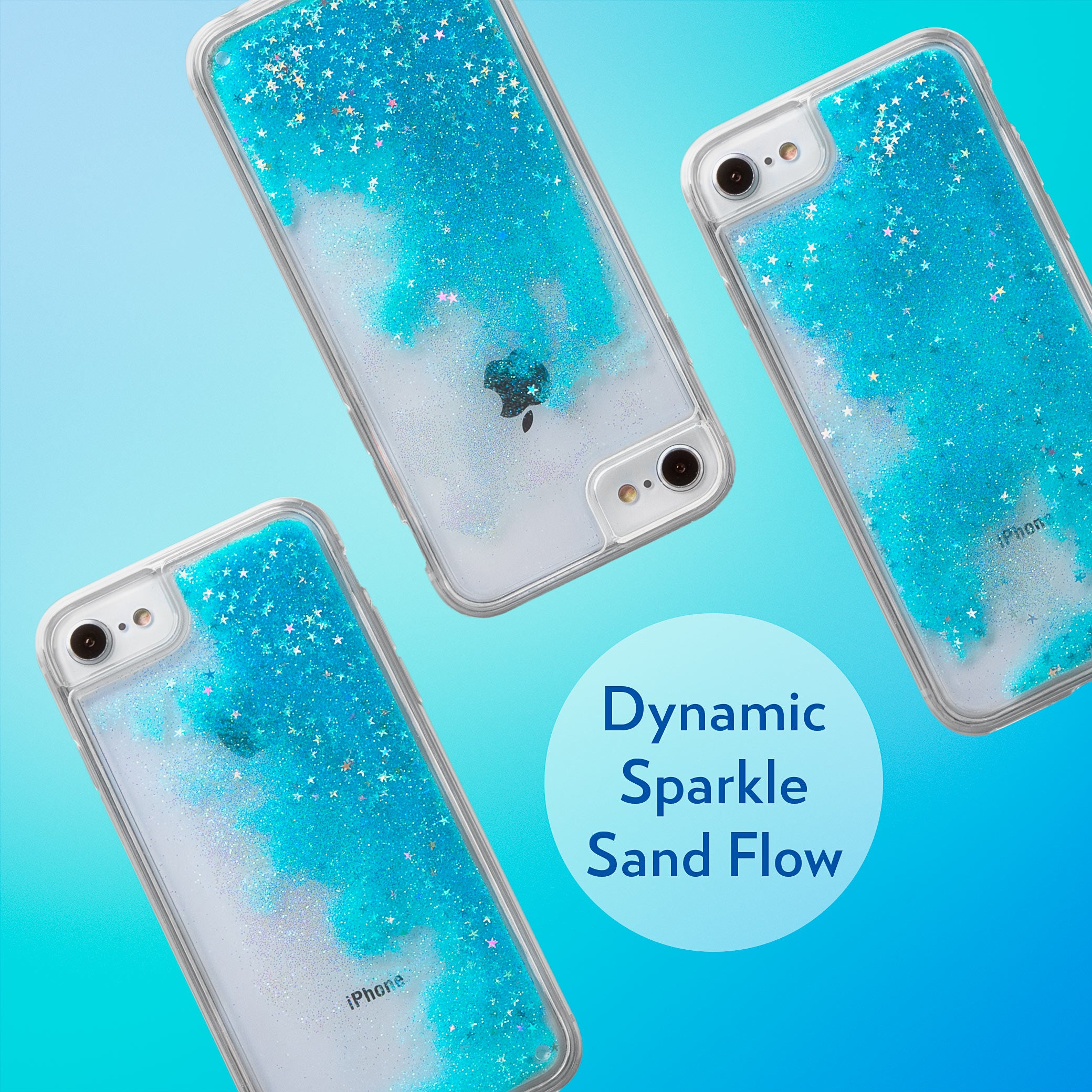 Glitter Liquid Case for iPhone SE, iPhone 8 & iPhone 7 - Iridescent Stars in Blue Sand