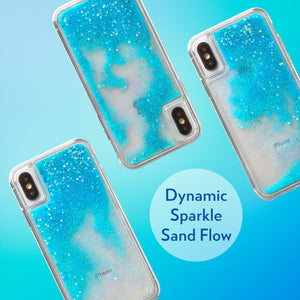 Glitter Liquid Case for iPhone Xs & iPhone X - Iridescent Stars in Blue Sand