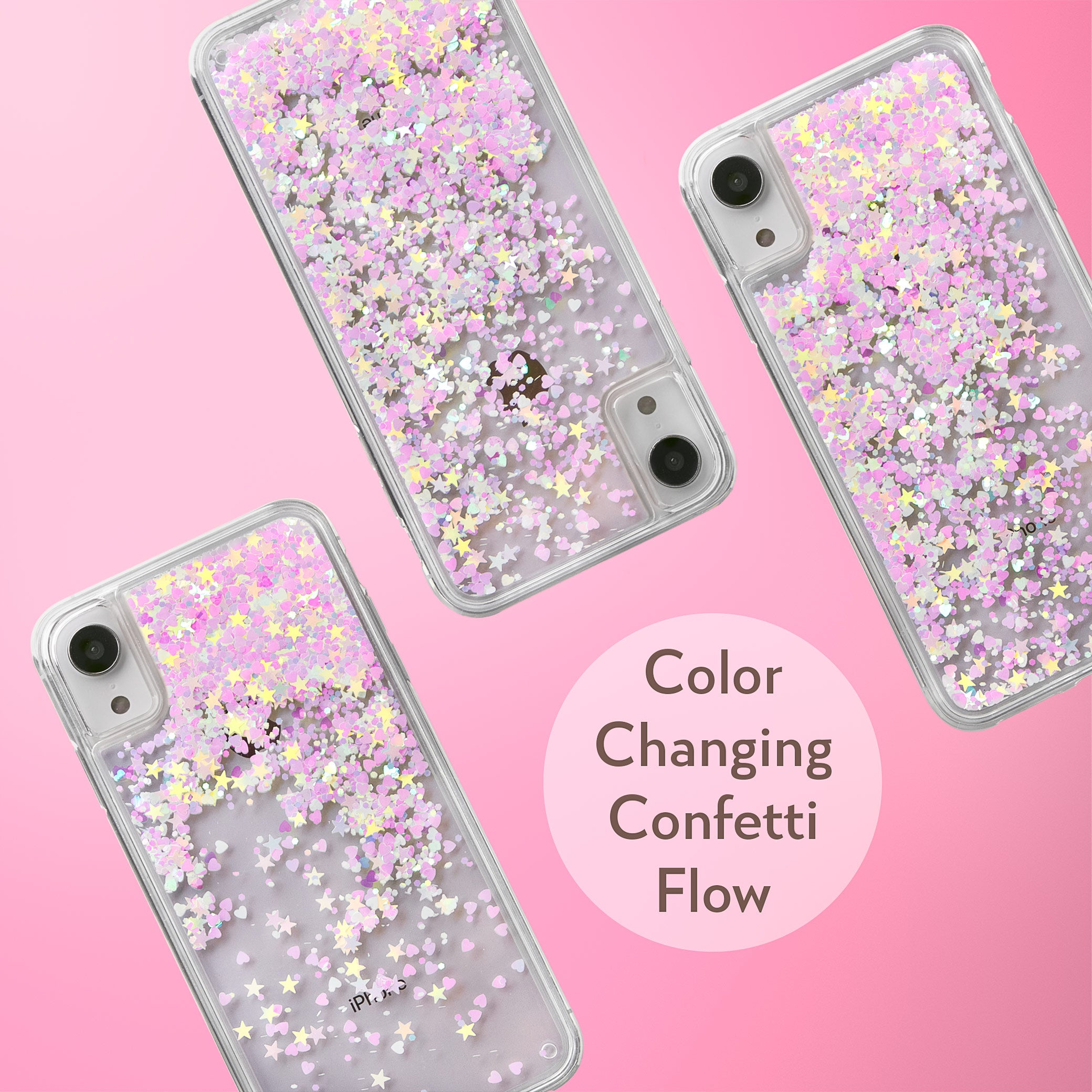 Glitter Liquid Case for iPhone XR - Pink Chameleon Confetti
