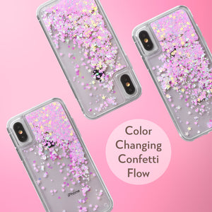 Glitter Liquid Case for iPhone Xs & iPhone X - Pink Chameleon Confetti