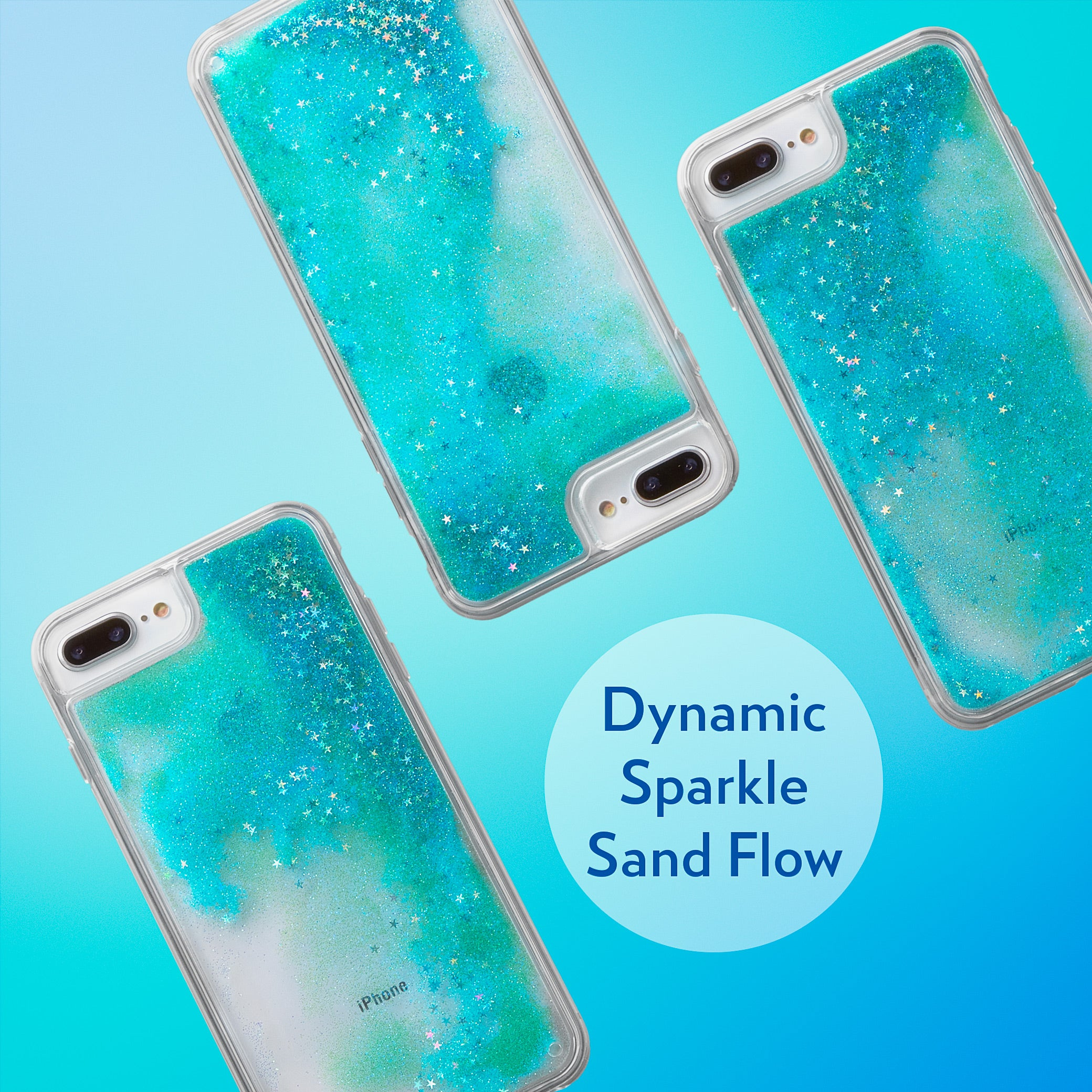 Glitter Liquid Case for iPhone 8 Plus & iPhone 7 Plus - Iridescent Stars in Blue Sand