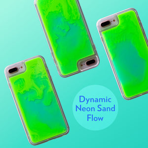Neon Sand iPhone 8+/7+ Case - Mint and Neon Green Glow