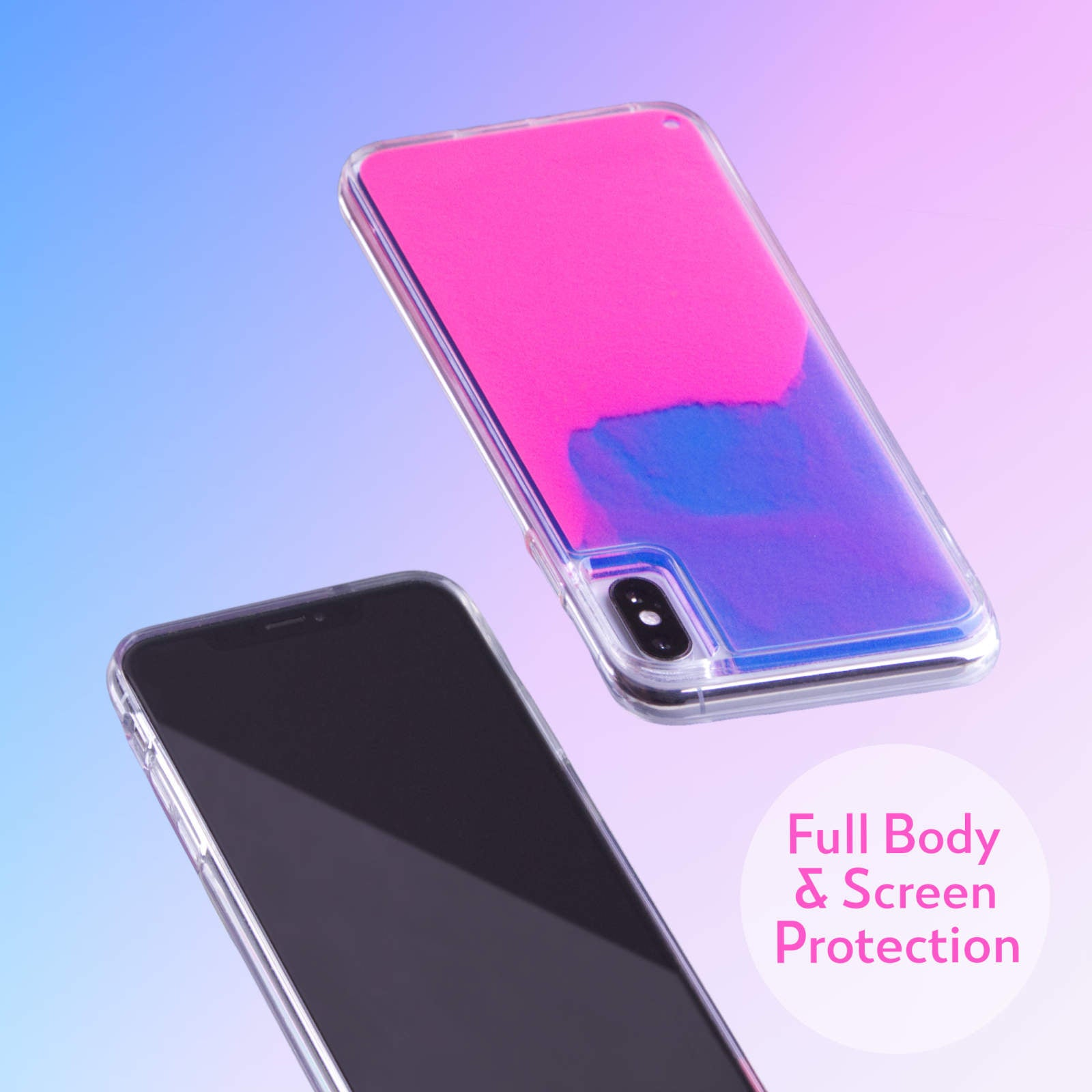 Neon Sand iPhone Xs Max Case - Blueberry and Pink Glow