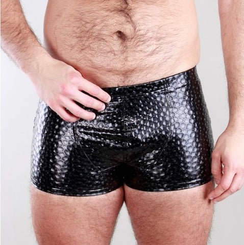 Black Holographic PVC Shorts