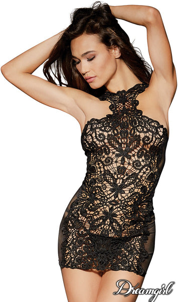 Reversible Black Embroidered Lace Chemise