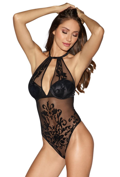 Black Mesh with Rose Design Teddy