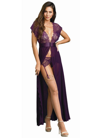 Plum Lace and Mesh Robe 3 Piece Set