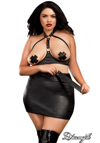 Metallic Wetlook 3pc Set in Plus Size