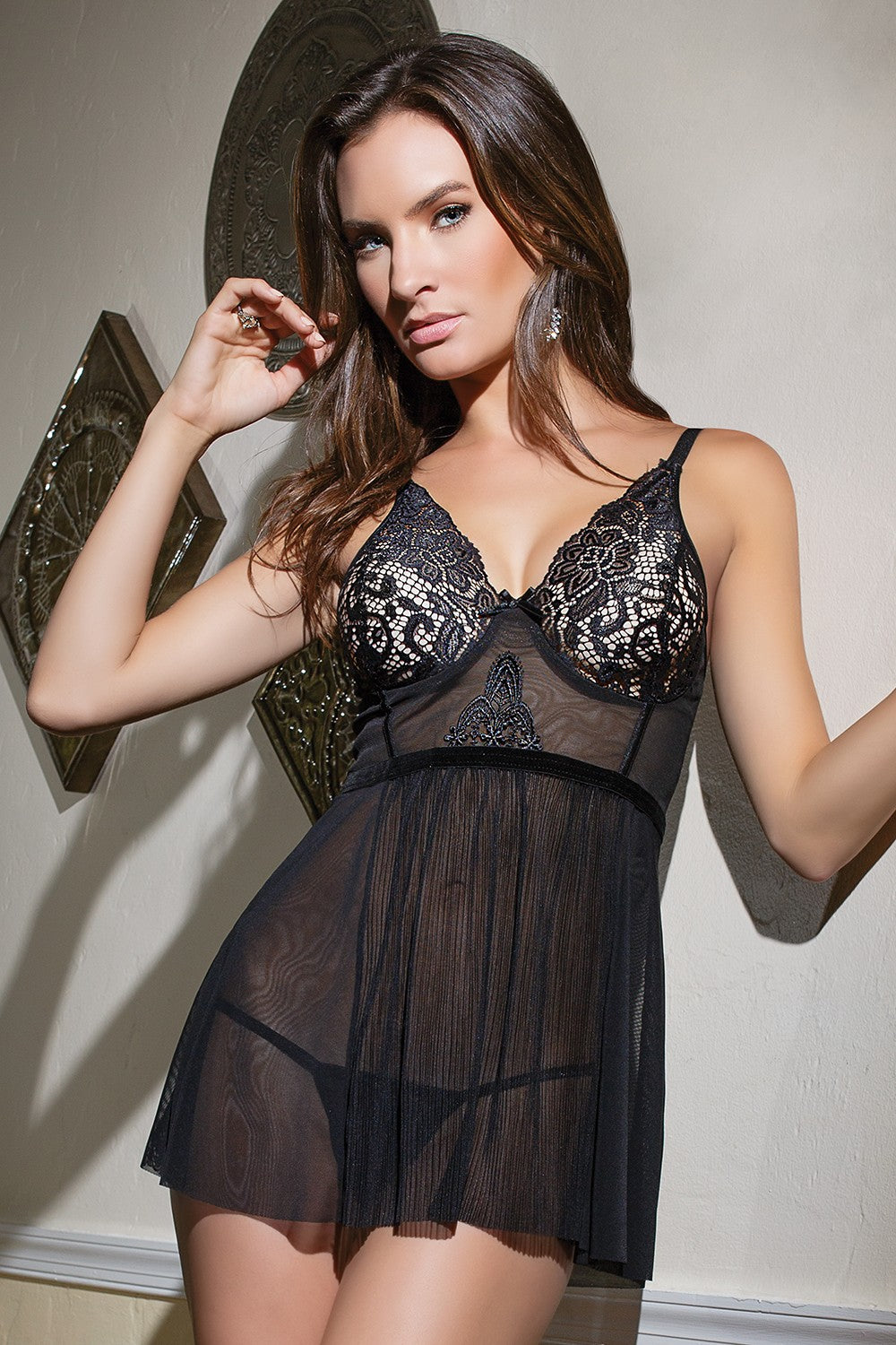 Black Powernet and Mesh Babydoll