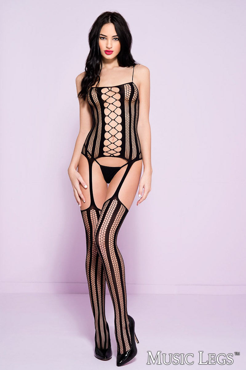 Hexagon Shape Striped Suspender Bodystocking