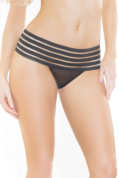 Mesh and Elastic Striped Thong