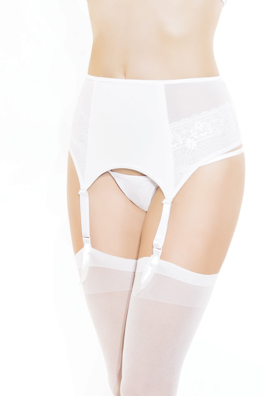 White Mesh and Lace Garter Belt