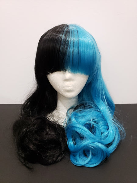 Long Split Wig with Clip On Ponytails - Blue and Black