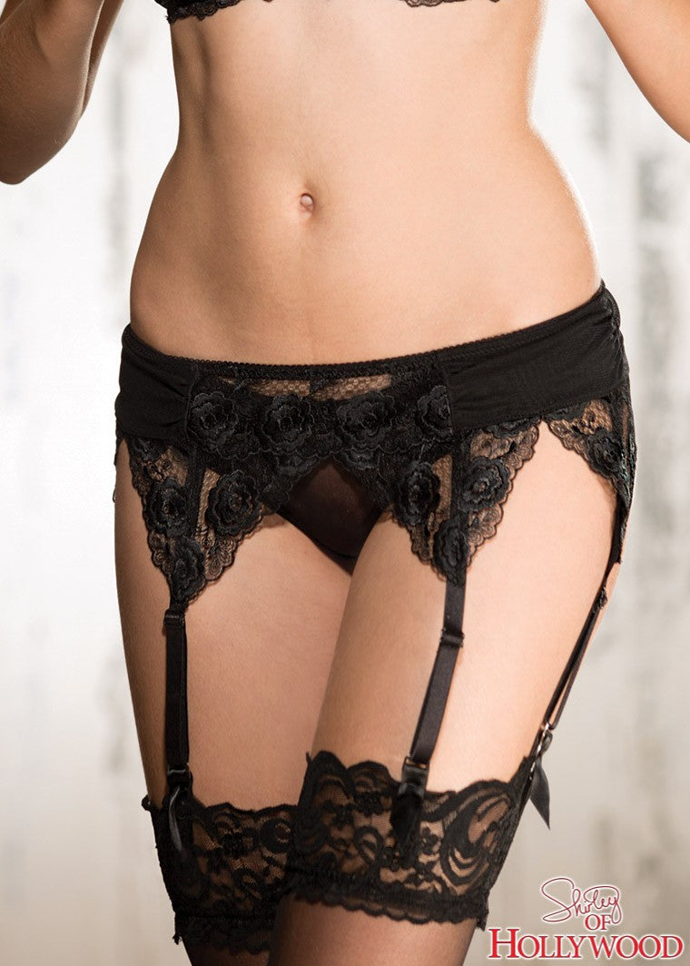 Floral Embroidered Garter Belt