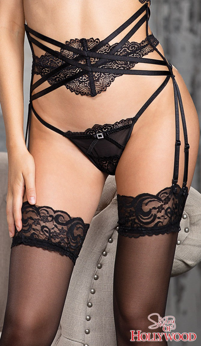 Strappy Lace Panel Garter Belt