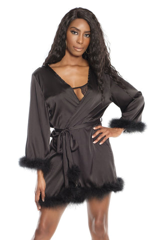 Satin Short Robe with Marabou Trim