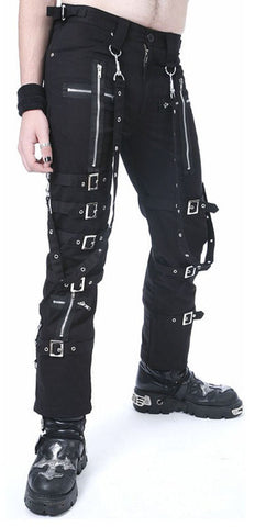 Black Bondage Pants with Buckle Leg Straps and Zipper Crosses