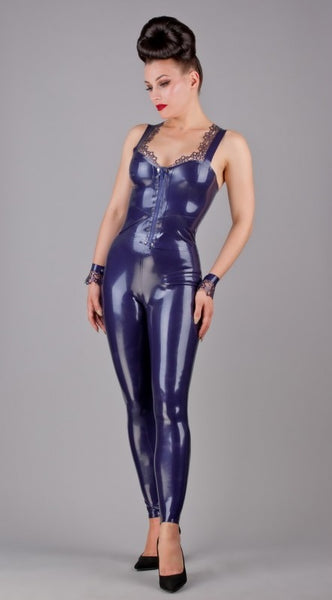 Latex Cropped Top with Latex Lace Trim