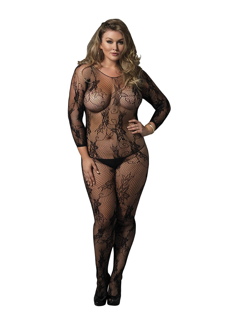 Floral Lace Long Sleeved Bodystocking Plus