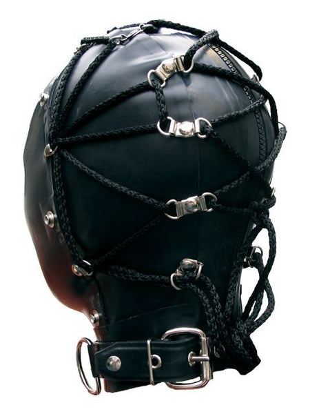 Black Heavy Rubber Tie Back Bondage Hood