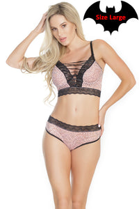Black and Pink Lace Bra and Panty Set