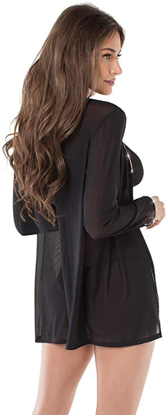 Black Mesh Open Robe with Rhinestone Trim