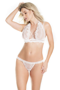 White Lace and Tulle Veil Bra and Panty Set