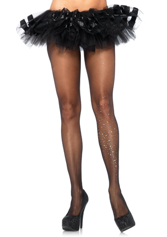 Sheer Pantyhose with Single Leg Rhinestone Accent